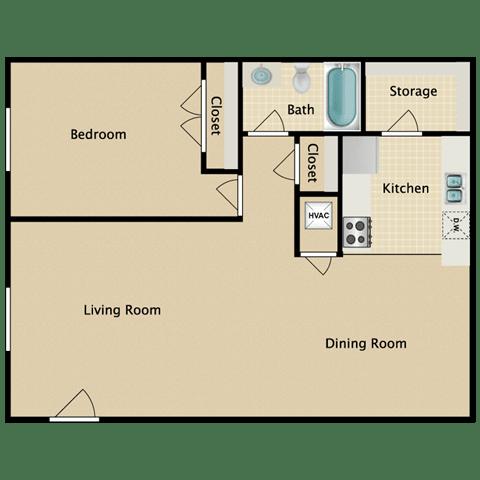 Floor Plan  Saratoga 1 Bedroom Apartment for Rent Pendelton Park Orlando