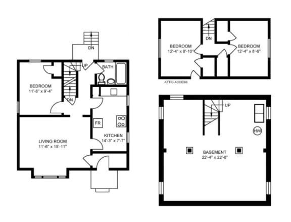 Floor Plan  3 bedroom house