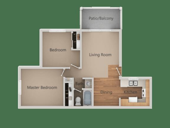 2 Bedroom 1 Bath Floor Plan at Aspen Park Apartments, California, 95823
