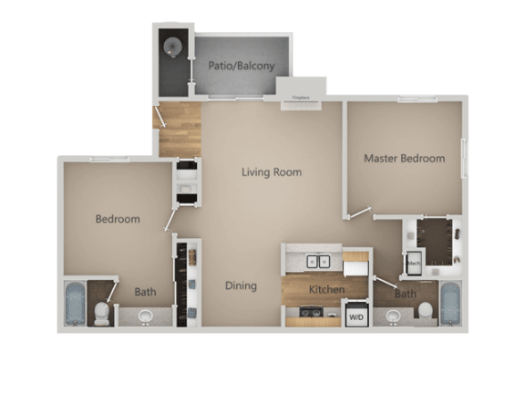 Two Bed Two Bath Floor Plan at Chesapeake Commons Apartments, California