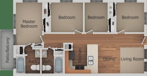 4 Bed 2 Bath Floor Plan at Creekside Villas Apartments, California