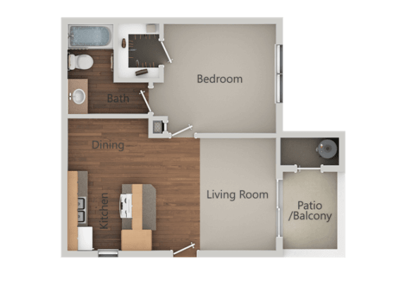 1 Bed 1 Bath Floor Plan at Ranchwood Apartments, Arizona