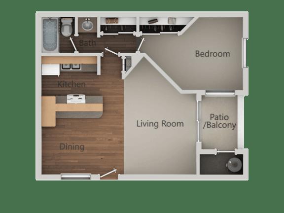 1 Bedroom 1 Bathroom Floor Plan at Ranchwood Apartments, Arizona, 85301