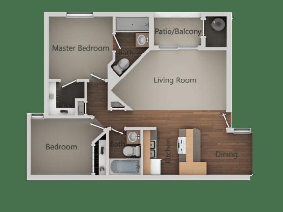 2 bedroom 2 bath Floor Plan at Ranchwood Apartments, Glendale, AZ, 85301