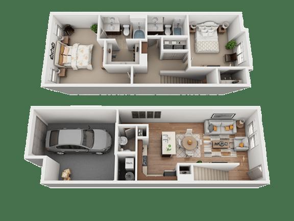 2 Bed 2 Bath Floor Plan at Four Seasons Apartments & Townhomes, North Logan