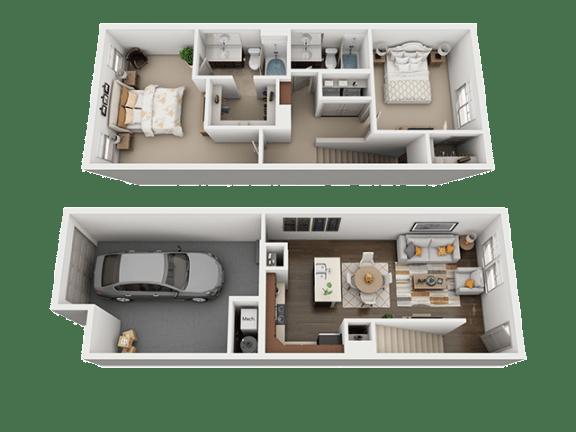 2 Bedroom 2 Bathroom Floor Plan at Four Seasons Apartments & Townhomes, North Logan, Utah