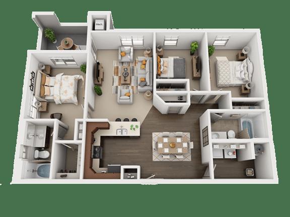 Three Bed Two Bath Floor Plan at Four Seasons Apartments & Townhomes, North Logan, UT