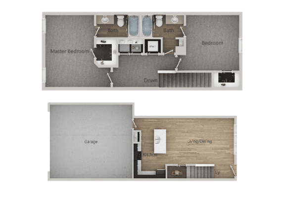 2Bed_2Bath 2D at Parc on 5th Apartments & Townhomes, American Fork, UT
