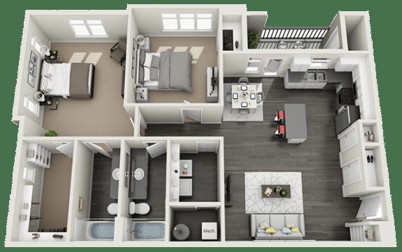 2 Bedroom 2 Bathroom Floor Plan at RivuletApartments, Utah, 84003