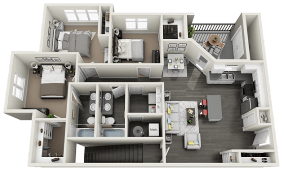 3 bedroom 2 bath Floor Plan at RivuletApartments, American Fork