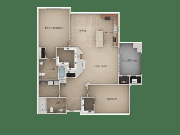 2 Bedroom 2 Bathroom Floor Plan at San Marino Apartments, South Jordan, Utah