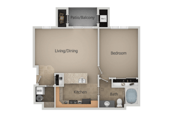 1 Bed 1 Bath Floor Plan at San MoritzApartments, Utah, 84047
