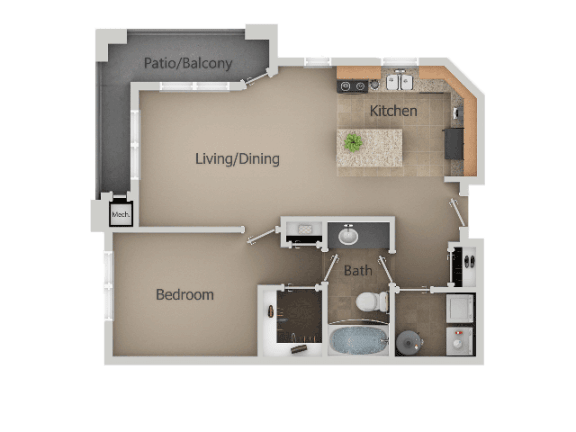 1 Bedroom 1 Bathroom Floor Plan at San MoritzApartments, Midvale, UT, 84047