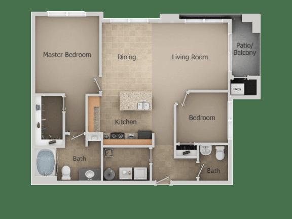 2 Bedroom 1 Bath Floor Plan at San MoritzApartments, Midvale, Utah