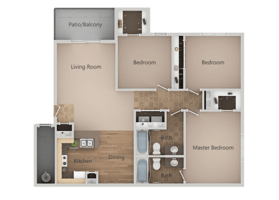3 bedroom 2 bath Floor Plan at Remington Apartments, Midvale, 84047