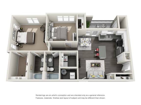 Two bedroom Two bathroom Floor Plan at RivuletApartments, American Fork, 84003
