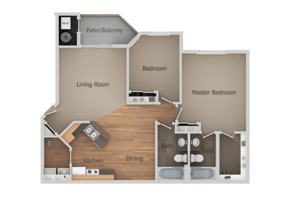 Two Bed Two Bath Floor Plan at Falls at Hunters PointeApartments, Sandy, UT, 84070
