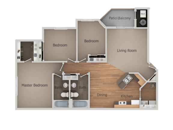 Three Bed Two Bath Floor Plan at Falls at Hunters PointeApartments, Sandy, UT