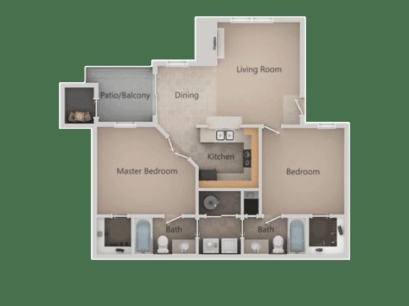2 bedroom 2 bath Floor Plan at Promontory PointApartments, Utah
