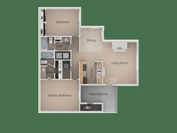 2 Bedroom 2 Bathroom Floor Plan at Promontory PointApartments, Utah, 84094