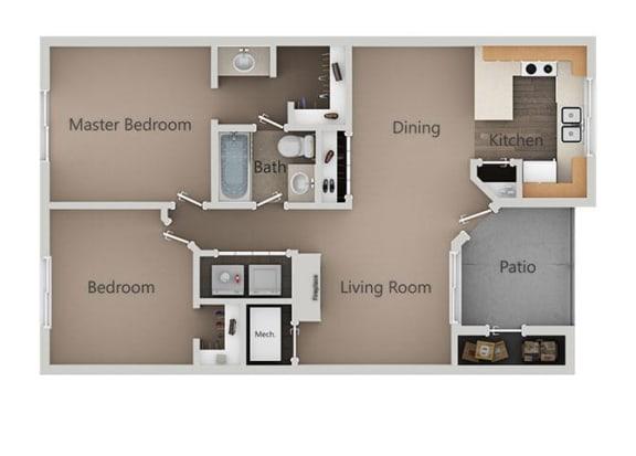 2 Bedroom 1 Bath Floor Plan at Broadmoor Village Apartments, West Jordan, Utah