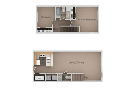 2 Bedroom 1 Bathroom Floor Plan at Broadmoor Village Apartments, West Jordan