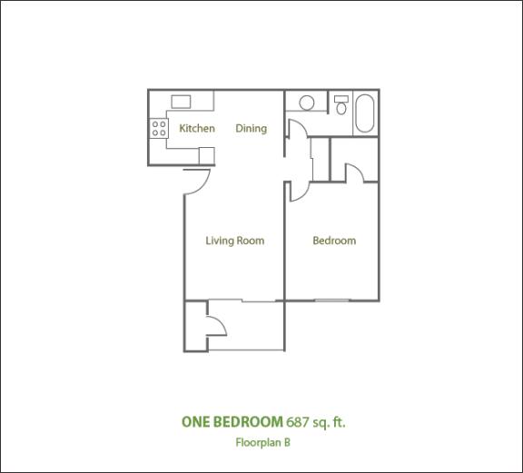 Floor Plan  One Bedroom Medium