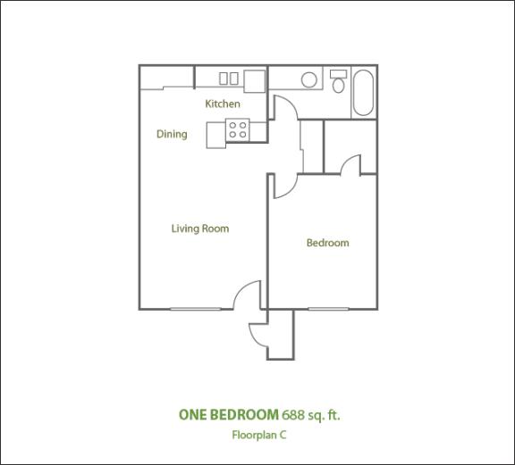 Floor Plan  One Bedroom Large