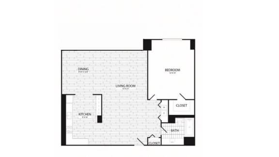 Floor Plan  1 Bedroom, 1 Bath 959 SF A11R