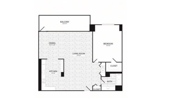 Floor Plan  1 Bedroom, 1 Bath 960 SF A12R