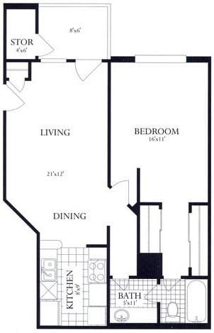 Floor Plan  1 Bed, 1 Bath 693 SF 11B