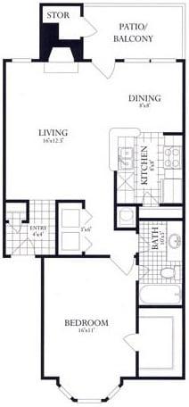 Floor Plan  1 Bed, 1 Bath 754 SF 11C