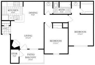 Floor Plan  2 Bed, 1 Bath 840 SF 21