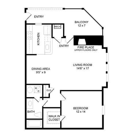 Floor Plan  1 Bed, 1 Bath 856 SF