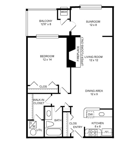 Floor Plan  1 Bed, 1 Bath 874 SF