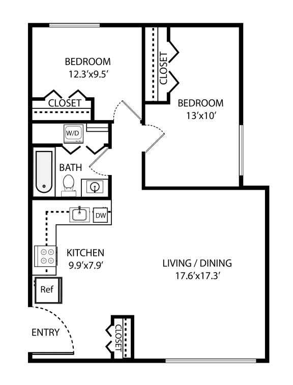Floor Plan  2 Bed, 1 Bath 920 SF