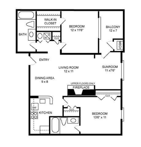 Floor Plan  2 Bed, 2 Bath 1090 SF
