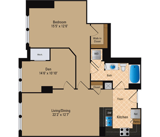 Floor Plan  Renovated Apartments for Rent in Pentagon City Arlington VA