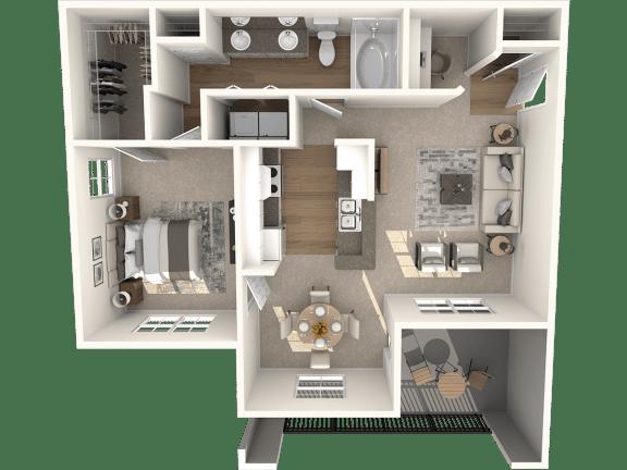 Floor Plan  1X1B Floor Plan | Lodge at Lakeline Village