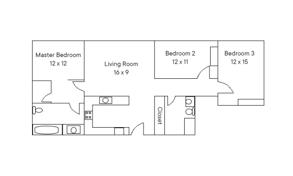 Three Bedroom, Two Bathroom Floor Plan   Residences at Manchester Place