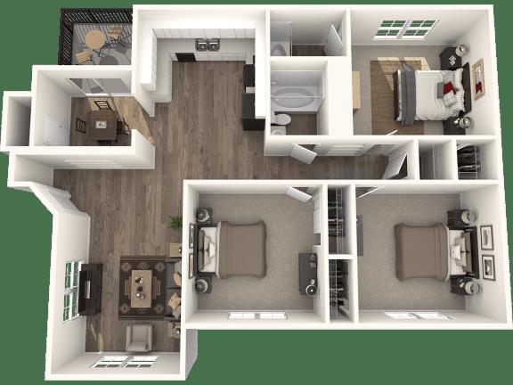 3X2GD Floor Plan | Randolph Park