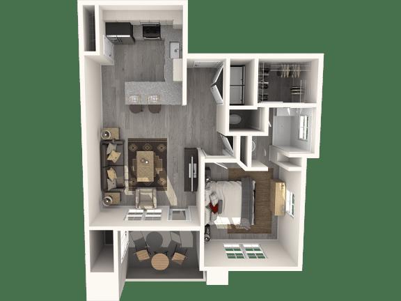 One Bedroom Floor Plan | Pima Canyon
