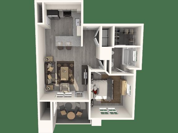Floor Plan  One Bedroom Floor Plan | Pima Canyon