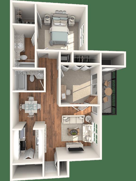 1 bedroom Peachtree floor plan