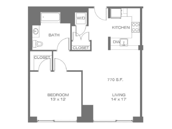 One Bedroom Floor Plan   The Residences at Manchester Place