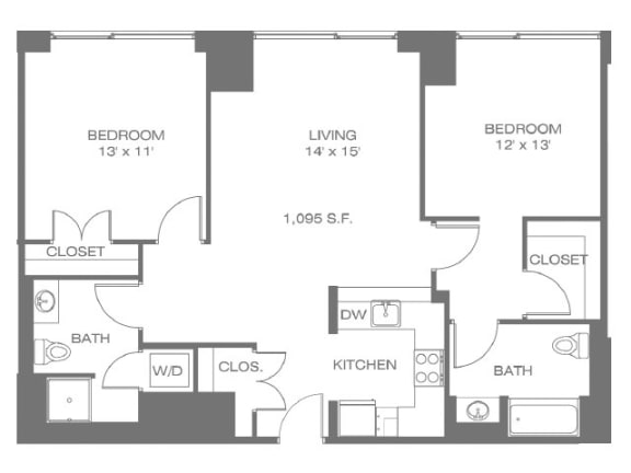 Two Bedroom Floor Plan   The Residences at Manchester Place