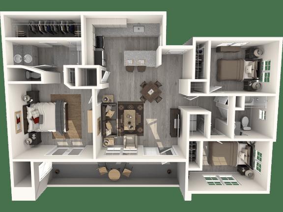 Floor Plan  Three Bedroom Floor Plan   Pima Canyon