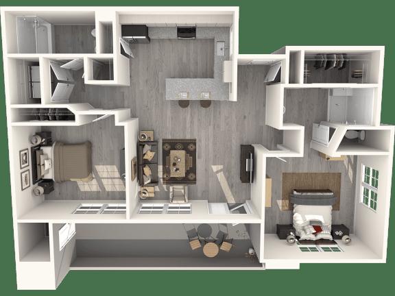 Floor Plan  Two Bedroom Floor Plan |Pima Canyon
