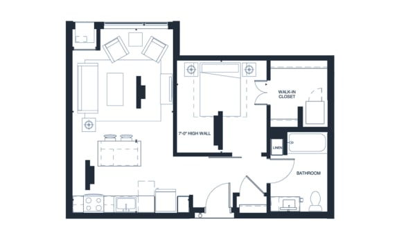 Armstrong - 1 Bedroom & 1 Bathroom Floor Plan At Revel Apartments