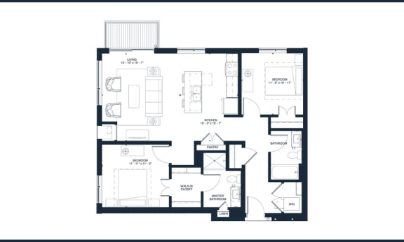 Bowie - 2 Bedroom & 2 Bathroom Floor Plan At Revel Apartments